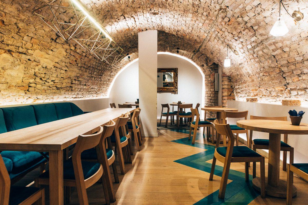 Interior of a modern Lithuanian restaurant Saula