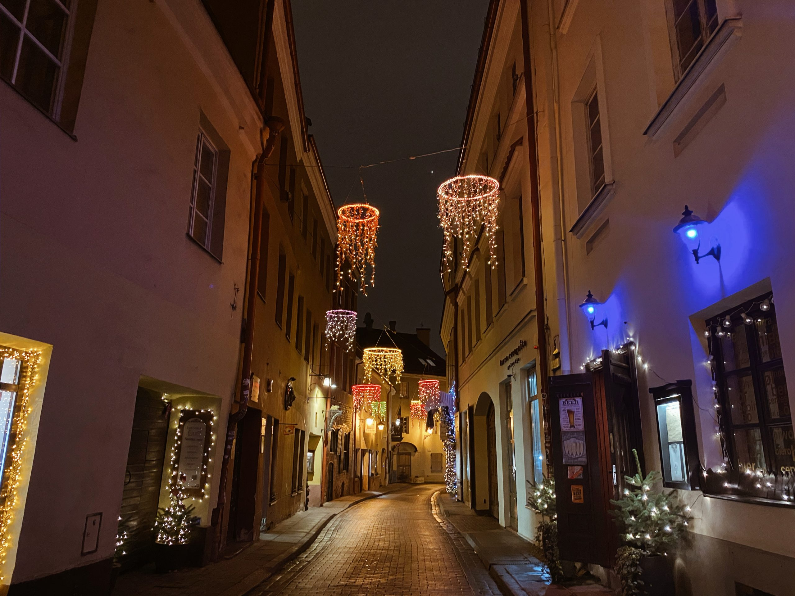 Shopping street in the old town of Vilnius